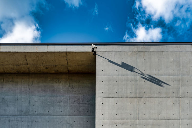 Low angle view of bird perching on wall against blue sky