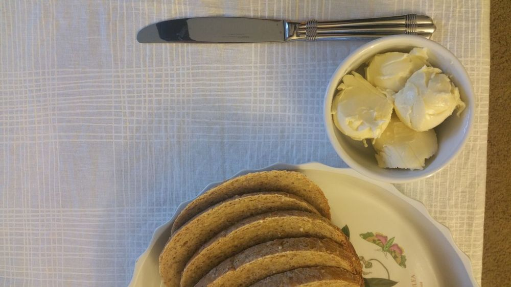 The Butter Knife Food No People Table Healthy Eating Close-up Indoors  Freshness Top Down View Above View Looking Down Bread And Butter Butter Knife Bread Eat Slices Of Bread