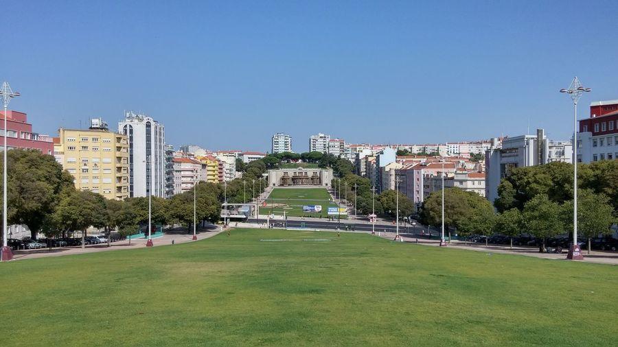 Park by buildings against clear blue sky
