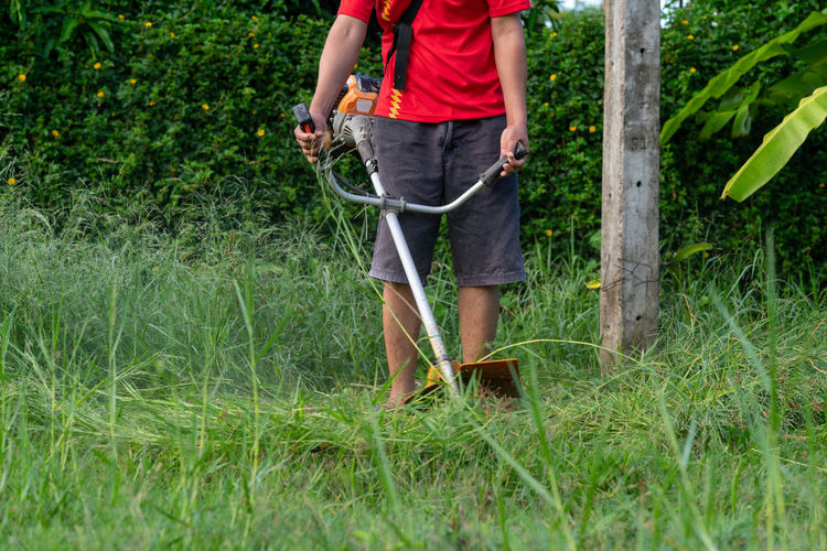 Low section of man working on grass