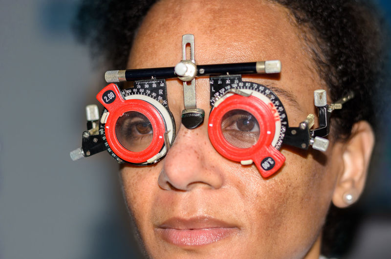 Close-Up Of Woman Wearing Eye Test Glasses