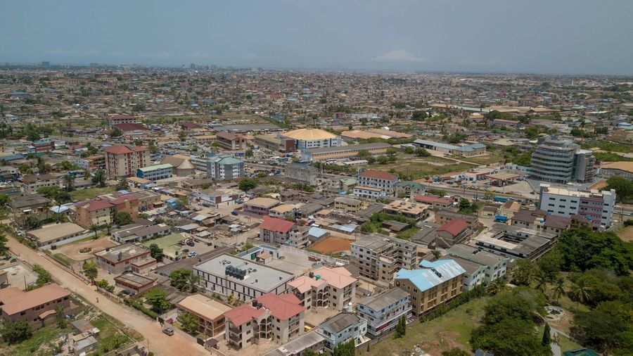 Dzorwulu Onefotos Eyeemghana Dorofoto Building Exterior Architecture City Built Structure High Angle View Cityscape Building Residential District Aerial View House TOWNSCAPE Outdoors Day Sky