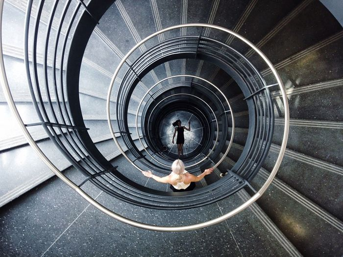 Angle view of spiral staircase