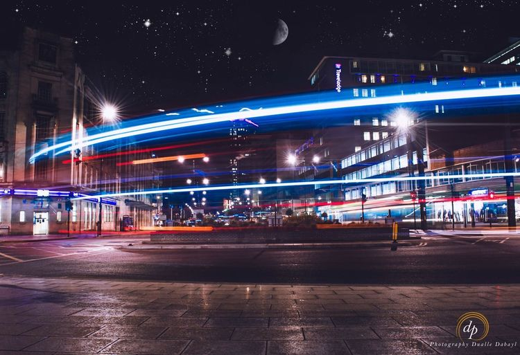 Low shutter speed EyeEm Selects Eyemphotography EyeEm Best Shots Photographyislife London Lowexposure Shutterspeed Croydon Night Illuminated Long Exposure Light Trail Transportation Motion Blurred Motion Architecture Outdoors Road Sky City No People Astronomy