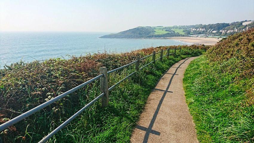 Sea Water Scenics Beach Wales❤ Wales UK Wales Swansea Coastal View Coast Life Coast Railing Coastal Walk Coastline Coastline Landscape Sunny Day Coastal Path Langland Bay