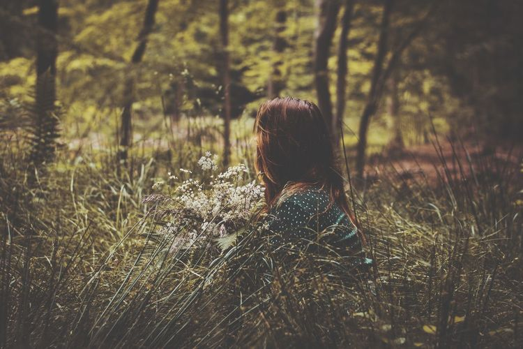 Rear view of woman sitting on field in forest