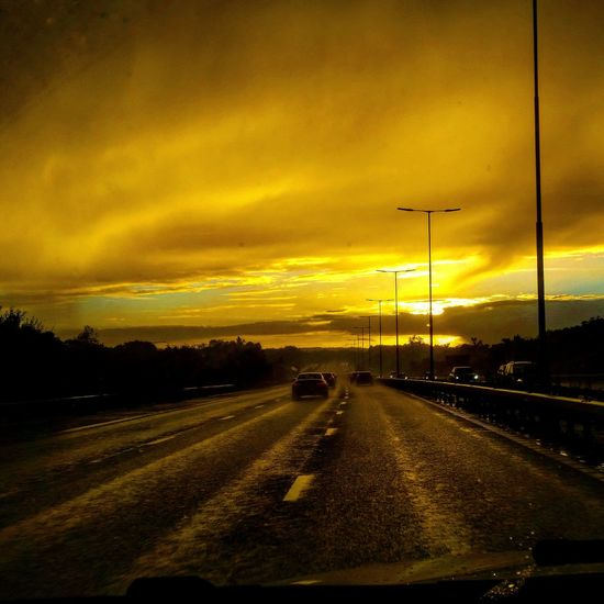 London M4 Sunset Transportation Sunset Car Road No People Dramatic Sky Scenics Sky Outdoors The Way Forward Nature Mode Of Transport Land Vehicle Cloud - Sky Beauty In Nature Tree Day