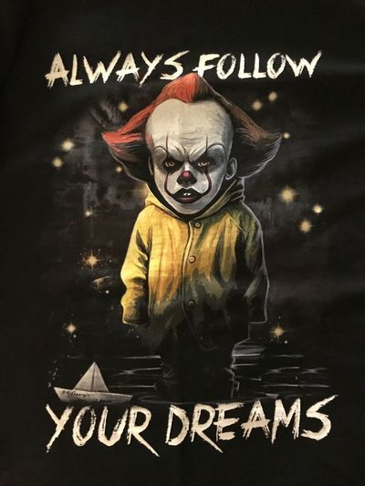 https://youtu.be/FXhLF9QkeNI My heart belongs to the original Stephen King's IT but there's room for the remake, too. We can all float together! Also, I'd like to dedicate this to two awesome people who simply have a dream of being together. Hang in there. Pennywise and I are on your side! Dedication Words Of Wisdom... The Purist Fashion Statement Always Follow Your Dreams Musical Photos Clown Love The Darkness Within You'll Float, Too