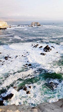 La Portada Rocky Coastline Pebble Beach Seascape Coastline Rugged Algae Ocean Seaweed Coastal Feature Rushing Calm Surf Pebble Sandy Beach Tide Low Tide Coast