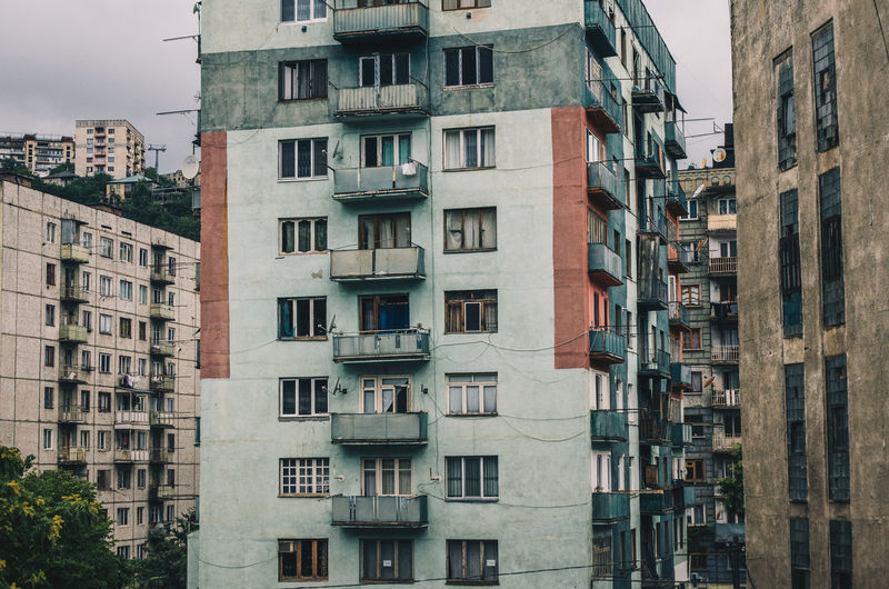 Low angle view of residential buildings in city