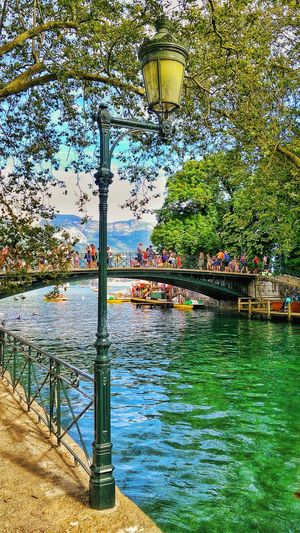Le lac d'Annecy Day Outdoors PhonePhotography Sky Lighting Equipment Travel Destinations Water Bridge - Man Made Structure Springtime Tranquil Scene Lac Annecy Enjoying Life