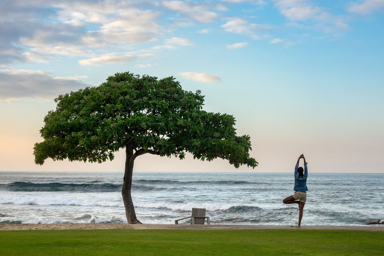 Beach tree on Hawaii's Big Island Meditation Yoga Beach Beachphotography Beauty In Nature Day Horizon Over Water Nature Outdoors Real People Scenics Sea Sky Standing Tree Water