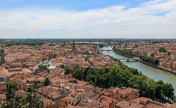 Verona cathedral and ancient Stone Bridge Aerial View Architecture Arena Bridge Bridge - Man Made Structure Building Exterior Built Structure City City City Life Cityscape Cloud - Sky Coluseum Connection Crowded Day High Angle View Italy Residential District River Romeo And Juliet Sky Tree Verona Water