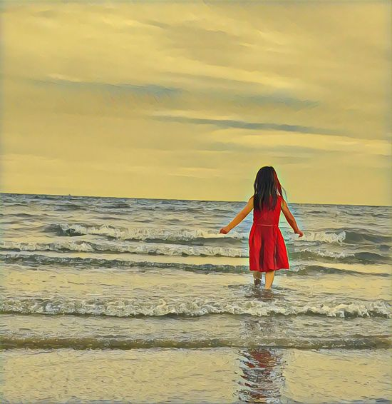 Granddaughter at the beach Red Dress Standing Water Sunset Rear View Nature One Person Red Ankle Deep In Water Sky