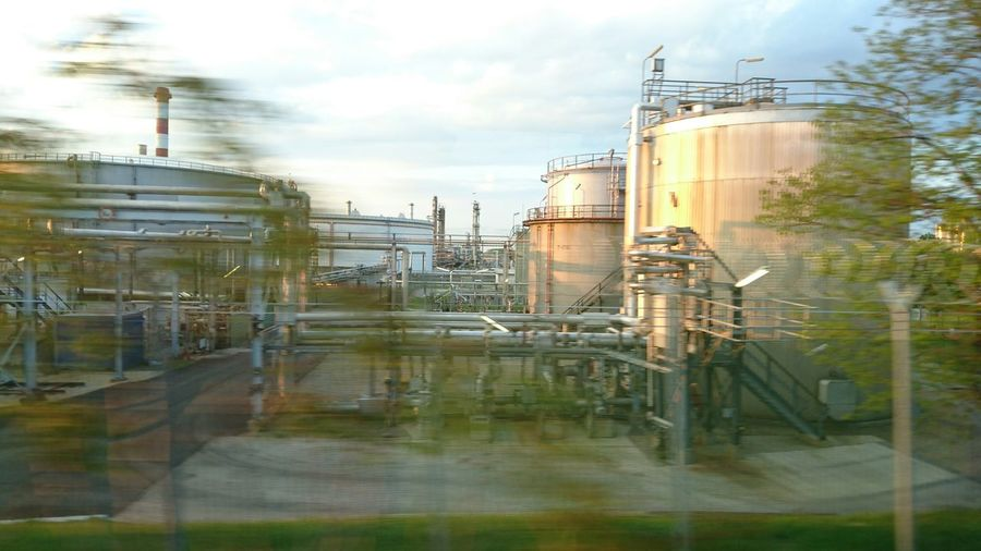 Passing By Trainride Trainview Factory Trees Green Walkway Railing Pipe Pipes Pipeline