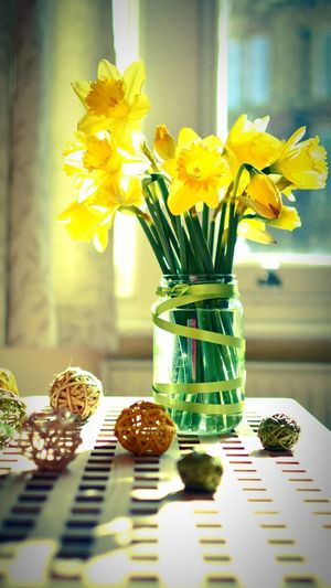 Flower🌞🌞🌞🌞 Vase Jar Indoors  Flower Head Bouquet Sunflower Daffodil Tulip No People Home Interior Freshness Yellow Fragility Nature Day Close-up First Eyeem Photo