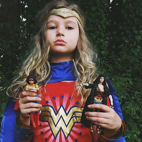 One Person Front View Portrait Looking At Camera Beauty Outdoors Close-up Human Hand Child Childhood Action Figures Superheroes Wonder Woman Cosplay Dress Up Fierce