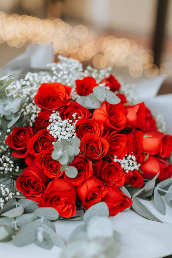 Flower details Beauty In Nature Bouquet Celebration Celebration Event Ceremony Close-up Day Flower Flower Head Fragility Freshness High Angle View Indoors  Life Events Nature No People Petal Red Rose - Flower Tradition Wedding Wedding Ceremony