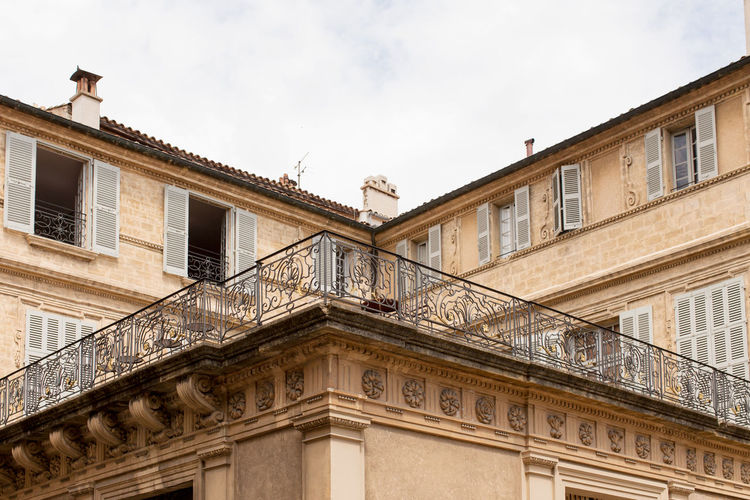 High section of building at Old city, Aix-en-Provence Architecture Balcony Day High Section Low Angle View Old City Outdoors Sky Tourism