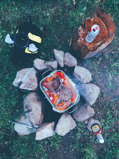 Beer Barbecue Bonfire Burning Camping Camping Stove Day Fire Pit Flame Food Food And Drink Glowing Grass Heat - Temperature High Angle View No People Outdoors