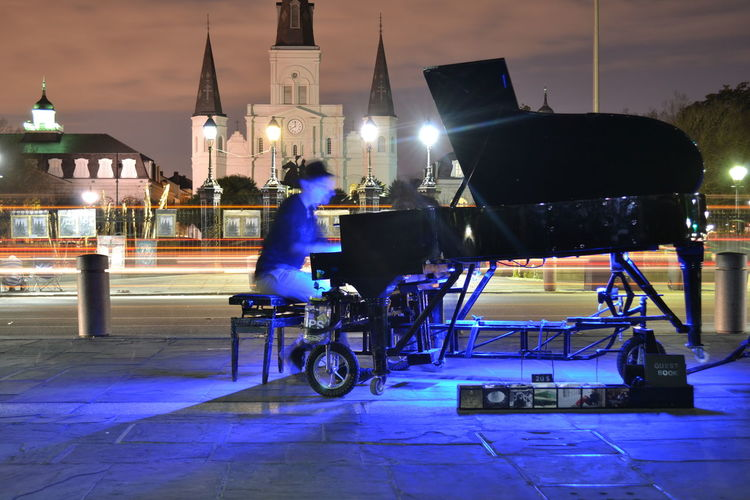 City Life French Quarter Light Painting Louisiana Music Musician New Orleans, LA NOLA Piano Saint Louis Cathedral,