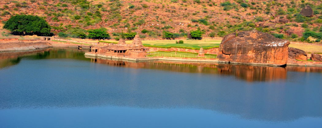 Architecture Badami Historic Reflection Rocks Water