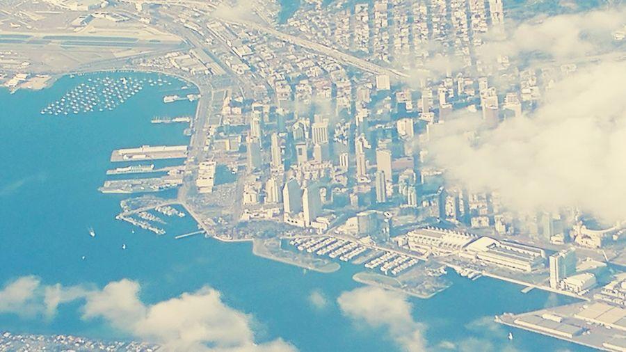 Down below Airplane San Diego Aerial View Pattern Sky