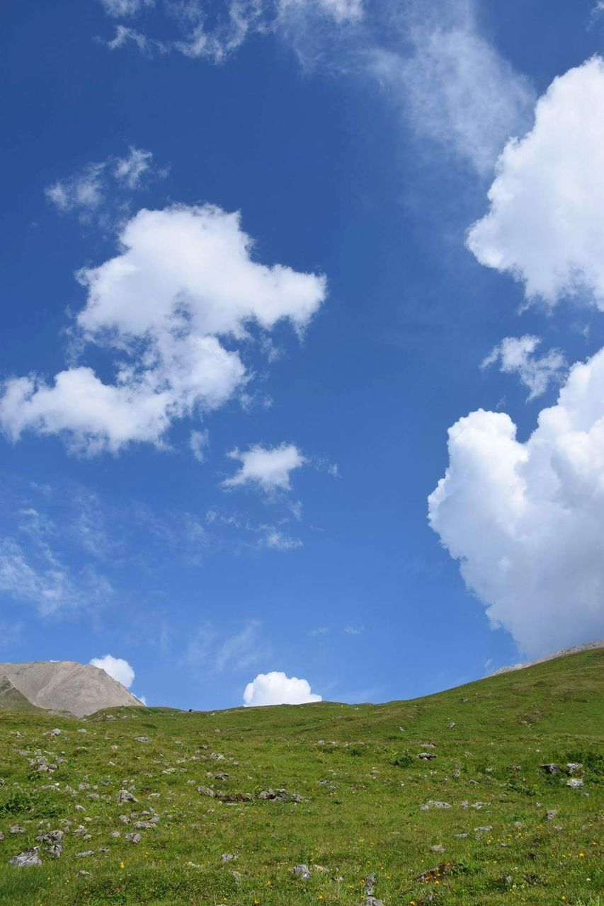 cloud - sky, sky, nature, scenics, grass, tranquility, beauty in nature, landscape, tranquil scene, day, green color, outdoors, no people, blue, mountain