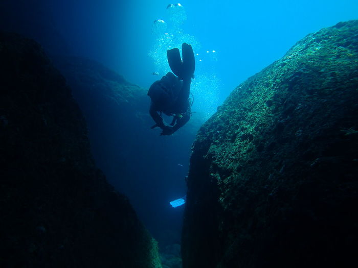 Person swimming in sea