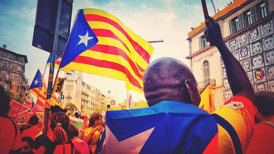 11 de Setembre Llibertat Llibertatpresospoliticscatalans Catalonia Is Not Spain Flag Demonstration Free Catalonia City Multi Colored Crowd Flag Celebration