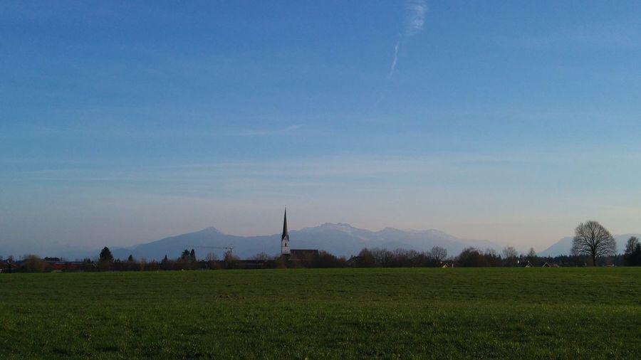 Church Eggstätt Environment Field Land Landscape Mountain Sky