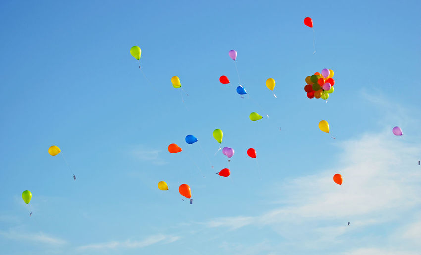Low angle view of colorful balloons in sky