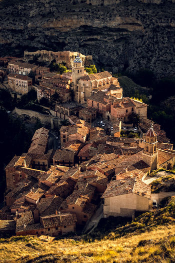 Aerial view of old buildings in city