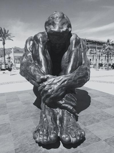 ( ) Statue Big Statue Human Hand Men Water Close-up Sky