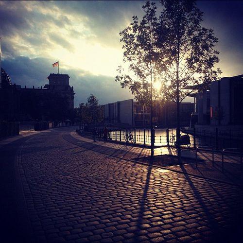 Empty walkway at sunset