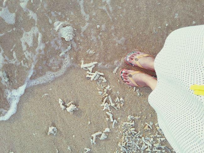 OKINAWA, JAPAN Ishigaki Island Fusakiresort Beach Sunset Foot Mylegs Beach Sandals Coral Toryburch