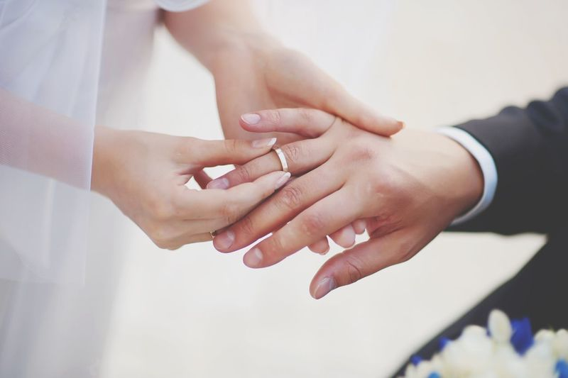 Midsection Of Couple Exchanging Wedding Ring