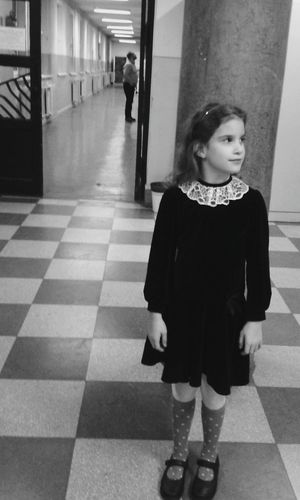 Strange Mood Blackandwhite Photography Blackandwhite Children Photography Child Event School Life  Musicschool Waiting