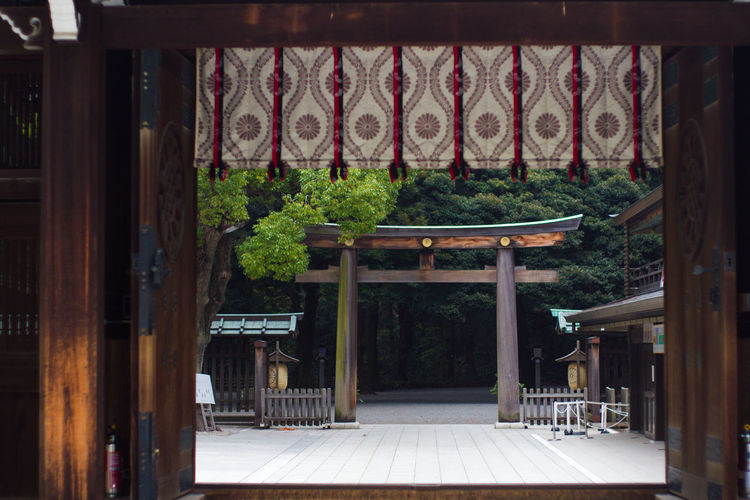Torii Gate At Meiji Shrine Seen Through Window