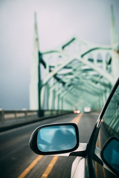 Road trip and fast lens are the best friends <3 Bokeh Bridge Car City Close-up Crossing Bridges Day Land Vehicle No People Oregon Outdoors Overcast Rear View Mirror Relaxing Road Road Trip Transportation Travel Wanderlust