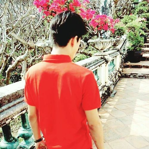 Man In Red Shirt Red Colours View Beautiful Flowers Lonely Day Alone Time