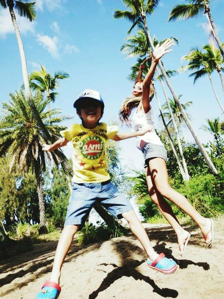 Japan Child Girls Two People Childhood Full Length Tree Palm Tree Togetherness People Vacations Day Adult Happiness Sky Looking At Camera Outdoors Smiling Portrait Cheerful Children Only