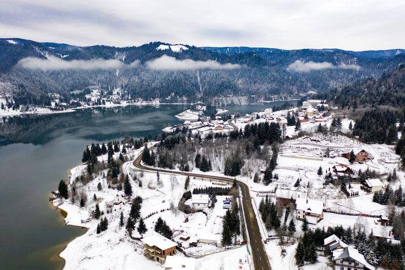 Aerial view of snowcapped town during winter
