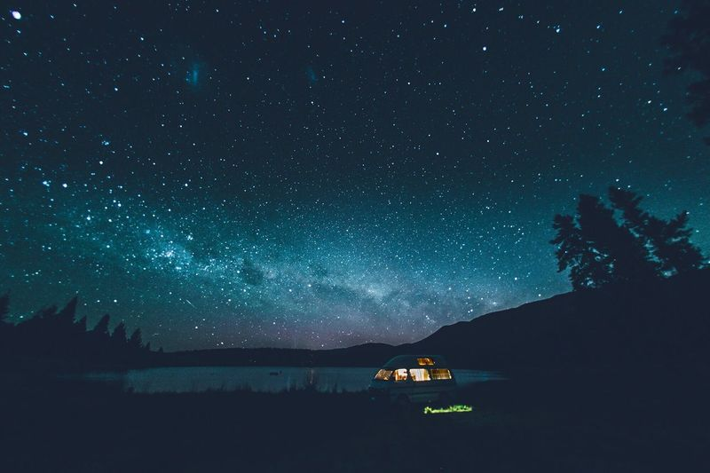 Illuminated Tent At Lake Against Sky At Night