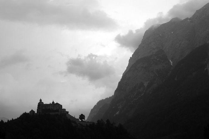 Alps Austria Bare Rock Black And White Castle Idyllic Landscape Majestic Mountain Mountain Range Nature Non-urban Scene Physical Geography Silouette Sky Tourism Tranquility Tree