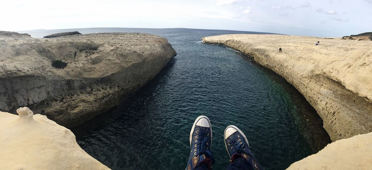 Personal Perspective Adventure Water Human Leg Scenics Outdoors Nature Beauty In Nature Sky Sea Scape Sardegna Sardinia Panoramic Photography Panorama S'archittu S'archittu Sardegna My Year My View Miles Away The Great Outdoors - 2017 EyeEm Awards