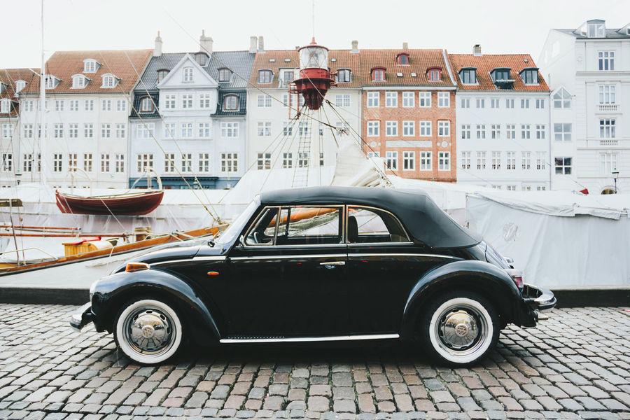 Architecture Black Car Car City Classic Cobblestone Streets Copenhagen Denmark Europe Mode Of Transport Nautical Vessel Nyhavn Outdoors Transportation Travel Destinations Travelling Wolkswagen