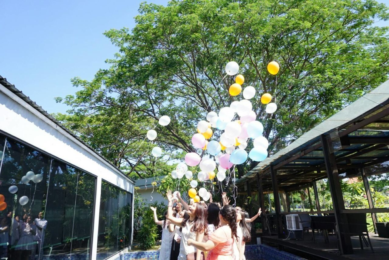 real people, balloon, tree, leisure activity, day, fun, growth, outdoors, group of people, celebration, friendship, togetherness, childhood, lifestyles, standing, building exterior, men, architecture, nature, people