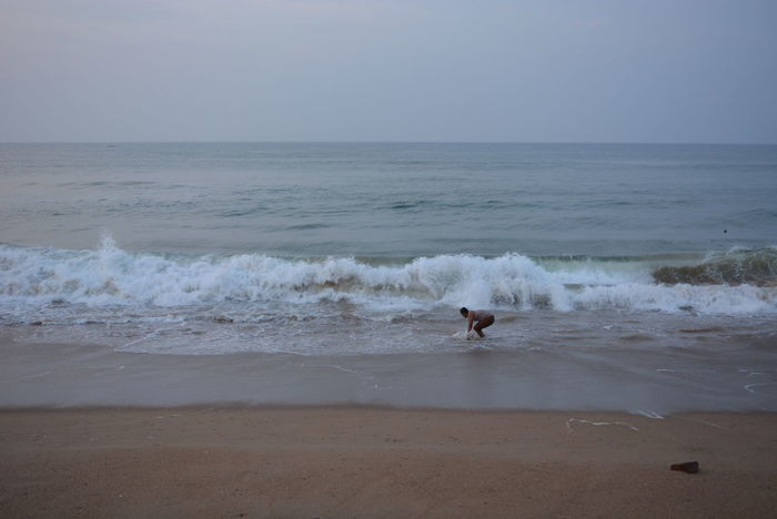 Animal Themes Beach Beauty In Nature Day Horizon Over Water Motion Nature Nature One Person Outdoors People Power In Nature Sand Sea Sea And Sky Seascape Seaside Skill  Sky Speed Water Wave