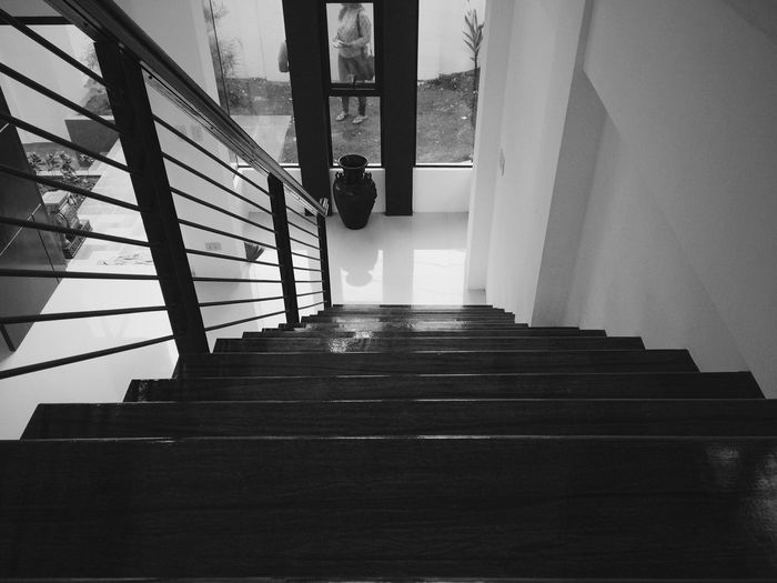 Down. Steps Staircase Steps And Staircases Railing Stairs Indoors  Built Structure Hand Rail Low Angle View Architecture No People Day Architecture Black And White Photography Blackandwhite Photography Bnw Black And White Collection  Blackandwhitephoto Black & White Photography